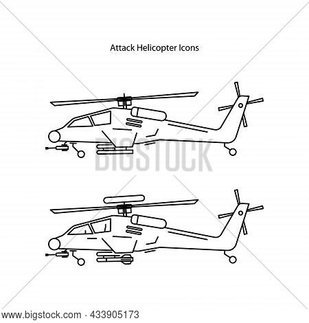 Military Helicopter Vector Icons Set. Aircraft Vehicle With Rotor, Blade, Weapons And Technology For