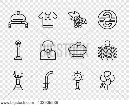Set Line Mother Motherland Monument, Poppy Flower, Branch Viburnum, Medieval Sword, Bread Salt, Ukra