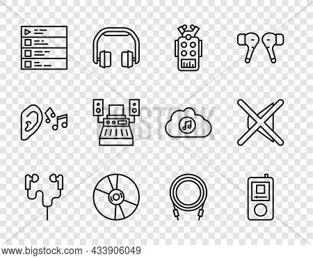 Set Line Air Headphones, Music Player, Microphone, Cd Or Dvd Disk, Playlist, Recording Studio, Audio