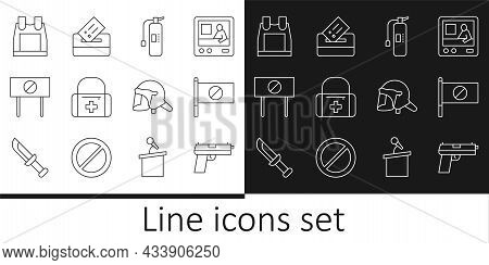 Set Line Pistol Or Gun, Protest, Fire Extinguisher, First Aid Kit, Bulletproof Vest, Police Helmet A