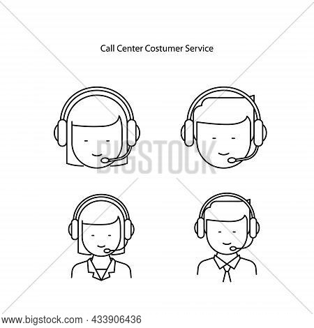 Call Center Icons Set Isolated On White Background. Call Center Icon Thin Line Outline Linear Call C