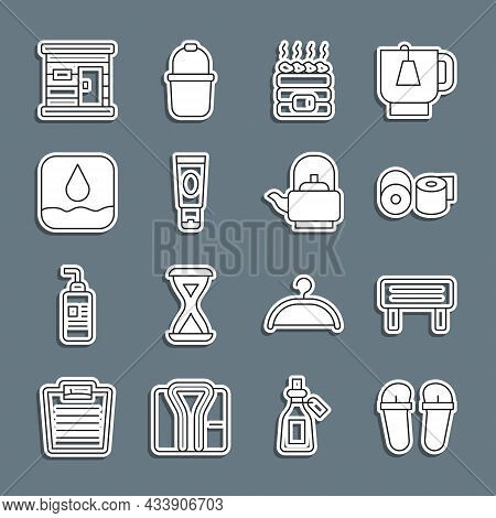 Set Line Flip Flops, Sauna Wood Bench, Toilet Paper Roll, Hot Sauna Stones, Cream Or Lotion Cosmetic