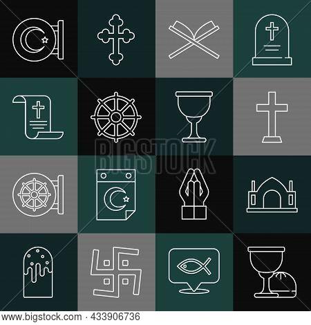Set Line Holy Grail Or Chalice, Hindu Spiritual Temple, Christian Cross, Book Of Koran, Dharma Wheel
