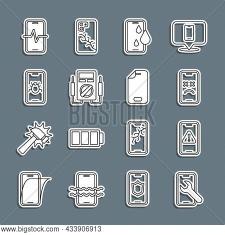 Set Line Mobile Service, With Exclamation Mark, Dead Mobile, Waterproof Phone, Multimeter, System Bu