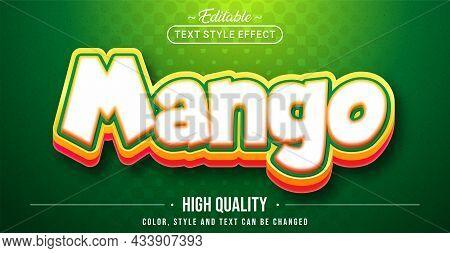 Editable Text Style Effect - Mango Text Style Theme. Graphic Design Element.