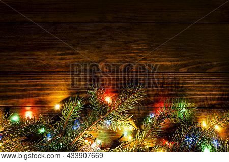 Holiday Christmas Wood Background. Christmas Card Background With Gift Box And Festive Decoration. S