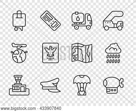 Set Line Airport Control Tower, Airship, Fuel Tanker Truck, Pilot Hat, Suitcase, Passport, Parachute