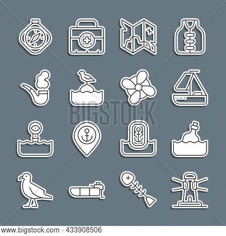Set Line Lighthouse, Bottle With Message In Water, Yacht Sailboat, Pirate Treasure Map, Seagull Sits