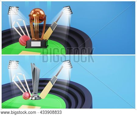 3D Trophy Cup With Cricket Equipments On Stadium Background In Two Options. Banner Or Header Design.