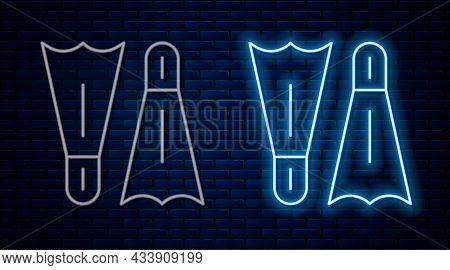 Glowing Neon Line Rubber Flippers For Swimming Icon Isolated On Brick Wall Background. Diving Equipm