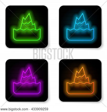Glowing Neon Line Iceberg Icon Isolated On White Background. Black Square Button. Vector