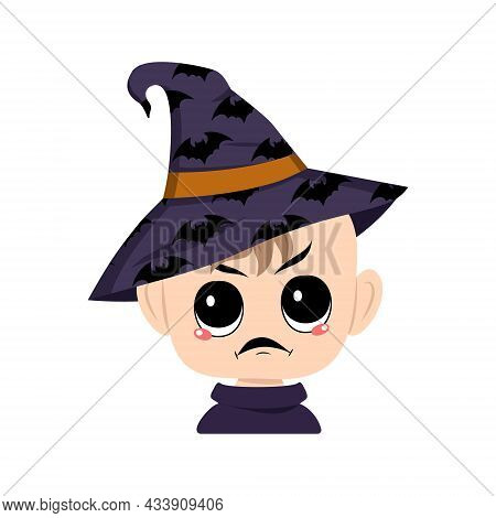Avatar Of Child With Angry Emotions, Grumpy Face, Furious Eyes In Pointed Witch Hat With Bats. The H