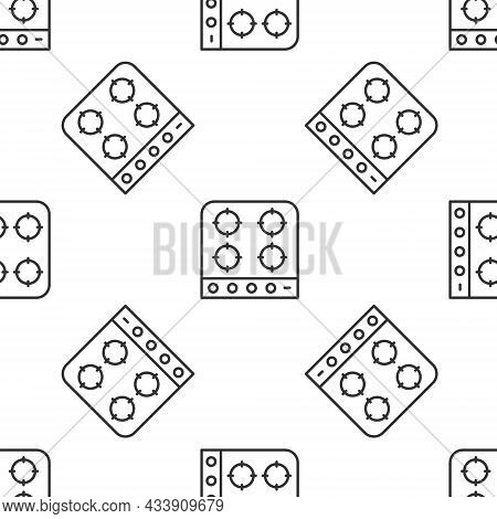 Grey Line Gas Stove Icon Isolated Seamless Pattern On White Background. Cooktop Sign. Hob With Four