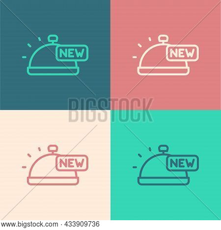 Pop Art Line Covered With A Tray Of Food Icon Isolated On Color Background. Tray And Lid Sign. Resta