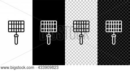 Set Line Barbecue Steel Grid Icon Isolated On Black And White, Transparent Background. Top View Of B