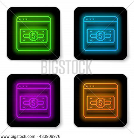 Glowing Neon Line Online Shopping On Screen Icon Isolated On White Background. Concept E-commerce, E