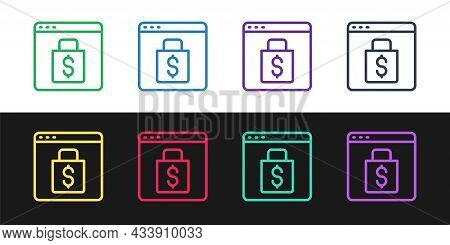 Set Line Online Shopping On Screen Icon Isolated On Black And White Background. Concept E-commerce,