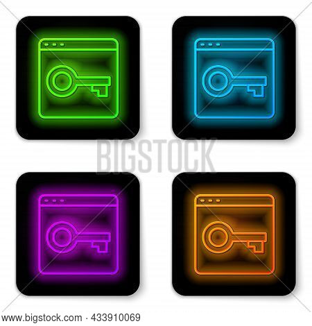 Glowing Neon Line Secure Your Site With Https, Ssl Icon Isolated On White Background. Internet Commu