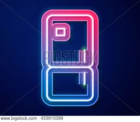 Glowing Neon Line Refrigerator Icon Isolated On Blue Background. Fridge Freezer Refrigerator. Househ