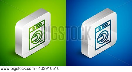Isometric Line Washer Icon Isolated On Green And Blue Background. Washing Machine Icon. Clothes Wash
