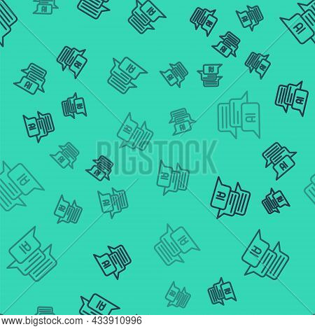 Black Line Chat Bot Icon Isolated Seamless Pattern On Green Background. Chatbot Icon. Vector