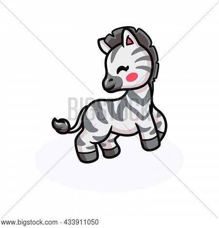 Vector Illustration Of Cute Happy Baby Zebra Cartoon