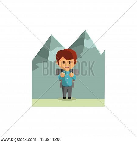 Boy Is Traveling In The Mountains. Character Vector Illustration On The Theme World Tourism