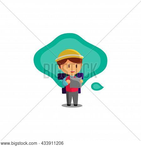 Boy Is Traveling While Looking At The Map. Character Vector Illustration On The Theme World Tourism