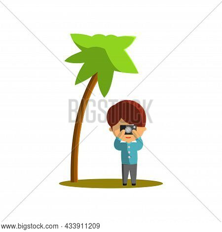 Boy Is Traveling While Taking Pictures. Character Vector Illustration On The Theme World Tourism