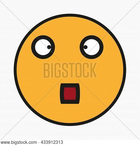 Astonished Smiley Icon. Red Mouth. Emotion Concept. Message Sign. Hand Drawn Face. Vector Illustrati