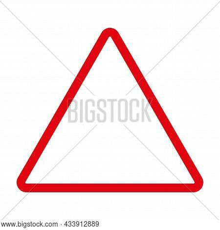 Red Empty Triangle Icon. Geometry Figure. Simple Flat Element. Technology Concept. Vector Illustrati