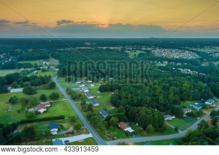 Aerial View On The Residential Streets Landscape Boiling Springs Town Of A Small Town A Height In Sc