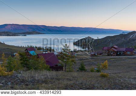 View Of Small Sea Strait On Lake Baikal On Autumn Day, Joy Bay With Houses