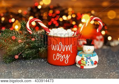 Warming Winter Drink. Hot Chocolate With Melting Marshmallows And Homemade Delightful Sweets. Christ