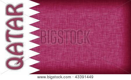 Flag Of Qatar Stitched With Letters