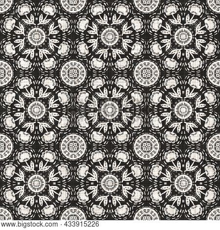 Seamless Black White Woven Cloth Circle Linen Texture. Two Tone Monochrome Pattern Background. Moder