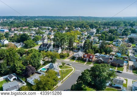 Aerial View Modern Residential District In American Town, Residential Neighborhood In Sayreville Nj
