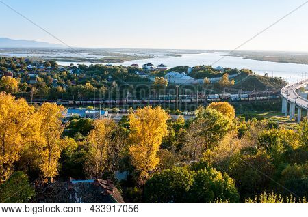 Autumn Landscape: The Amur River And Country Houses Near The City Of Khabarovsk