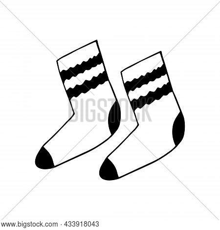Knitted Socks Drawn Doodle. Vector, Scandinavian, Nordic, Minimalism, Monochrome Icon Sticker Winter