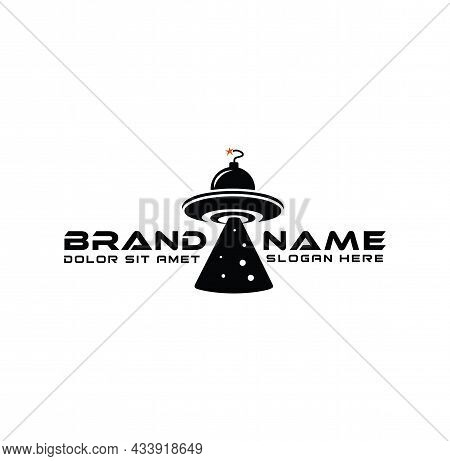 Ufo With Boom Logo Design Vector For Web Design Isolated On White Background