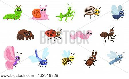 Cute Bug Cartoon Characters Vector Illustrations Set. Funny Forest Or Garden Animals, Ant, Snail, Sp