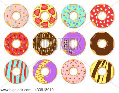 Colorful Glazed Donuts Flat Vector Illustrations Set. Simple Trendy Pattern With Doughnuts With Choc