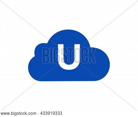 Cloud Logo Design On U Letter. Initial Letter U Cloud Logo Vector Template With White Background