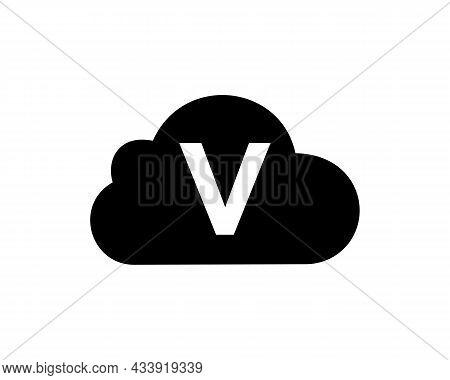 Cloud Logo Design On V Letter. Initial Letter V Cloud Logo Vector Template With White Background