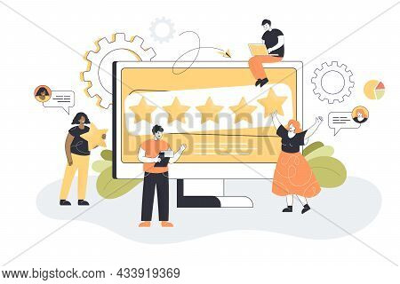 Cartoon People Sharing Brand Insights On Social Media. Company With Good Reputation, Seo Analytics F