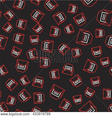 Line Envelope Icon Isolated Seamless Pattern On Black Background. Received Message Concept. New, Ema