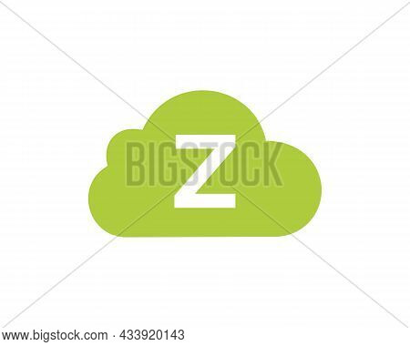 Cloud Logo Design On Z Letter. Initial Letter Z Cloud Logo Vector Template With White Background