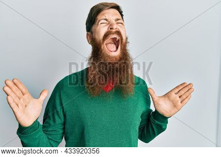 Redhead man with long beard wearing casual clothes crazy and mad shouting and yelling with aggressive expression and arms raised. frustration concept.