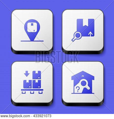 Set Location With Cardboard Box, Search Package, Cardboard Boxes Pallet And Warehouse Check Icon. Wh