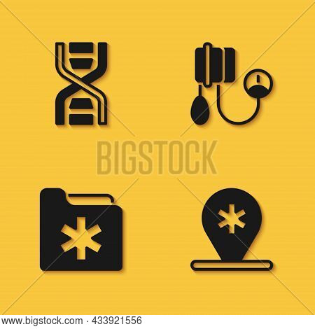 Set Dna Symbol, Location Hospital, Medical Health Record Folder And Blood Pressure Icon With Long Sh